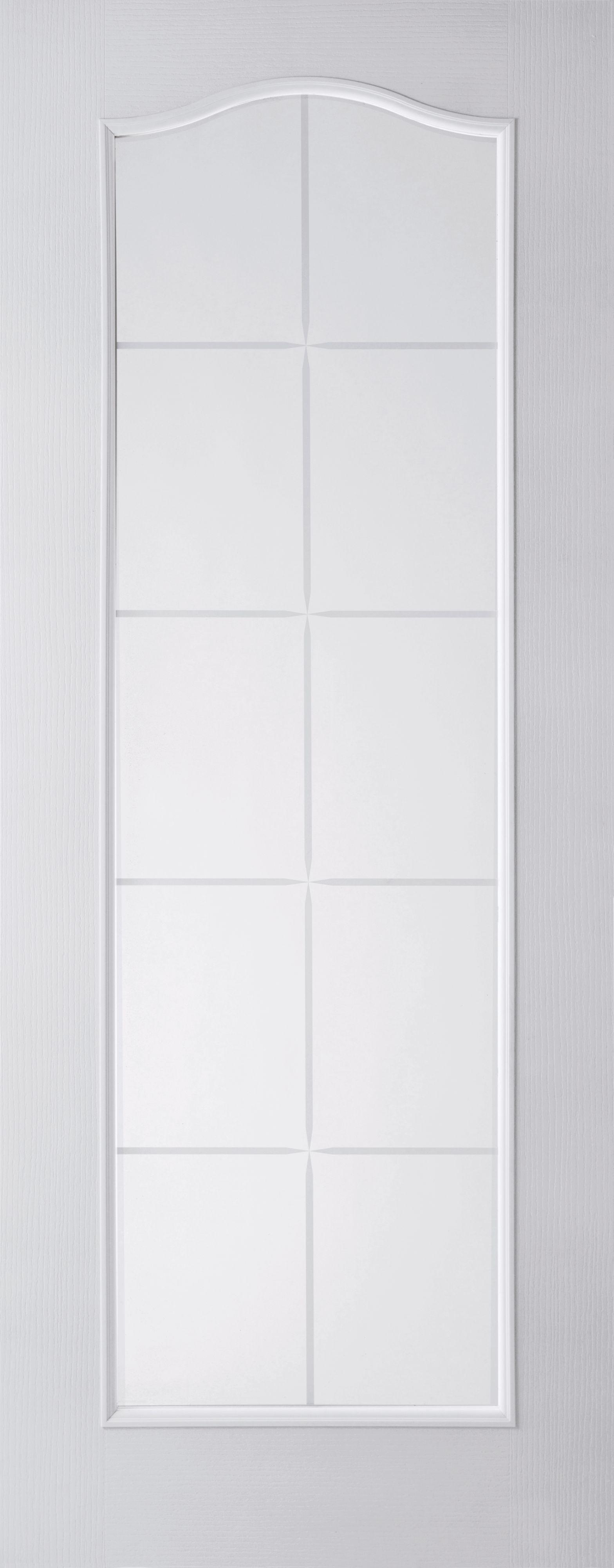 10 Lite Woodgrain Effect White Internal Glazed Door, (h)2040mm (w)826mm