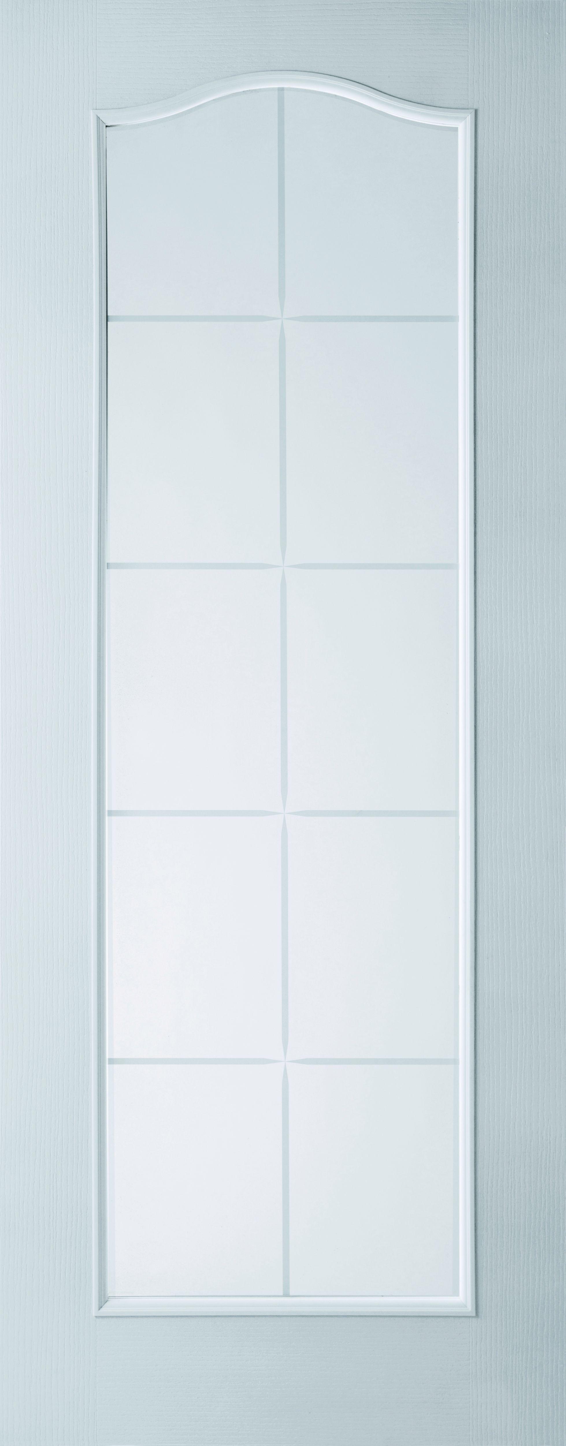 Fully Glazed Arched 10 Lite Primed Glazed Internal Standard Door, (h)1981mm (w)686mm