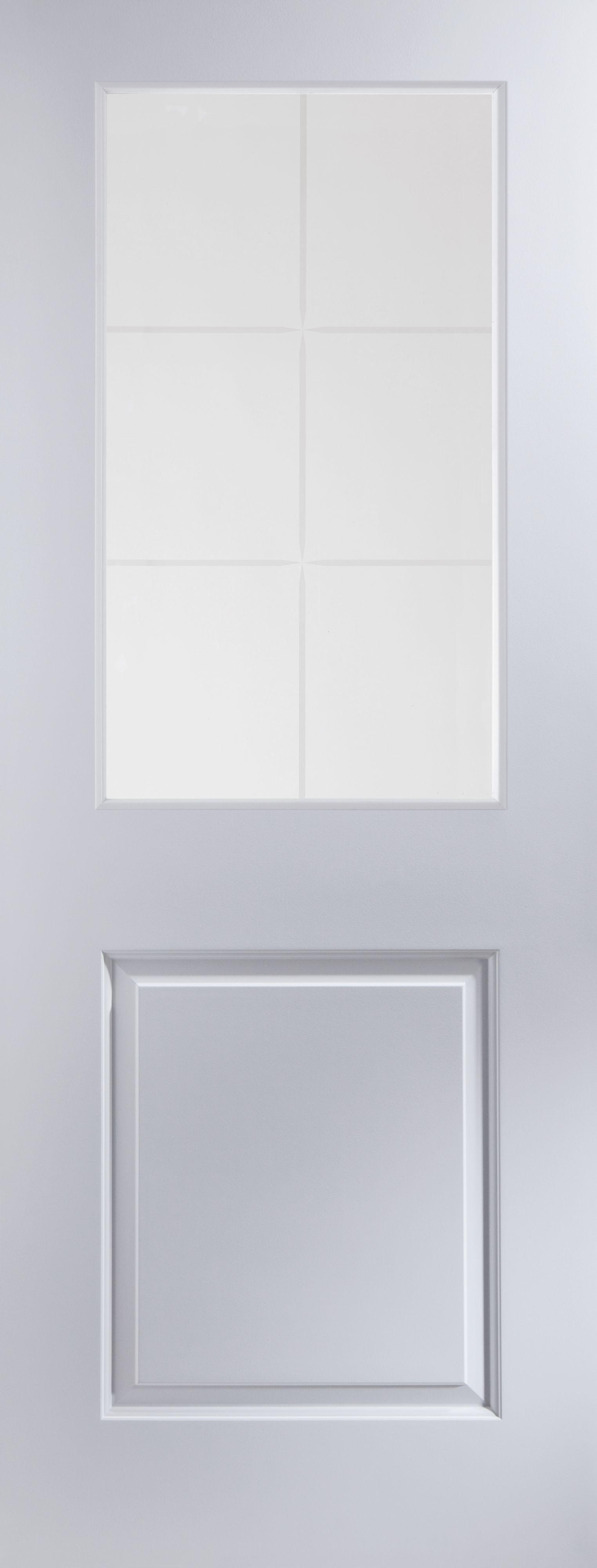 2 Panel 6 Lite Pre-painted White Glazed Internal Standard Door, (h)1981mm (w)838mm