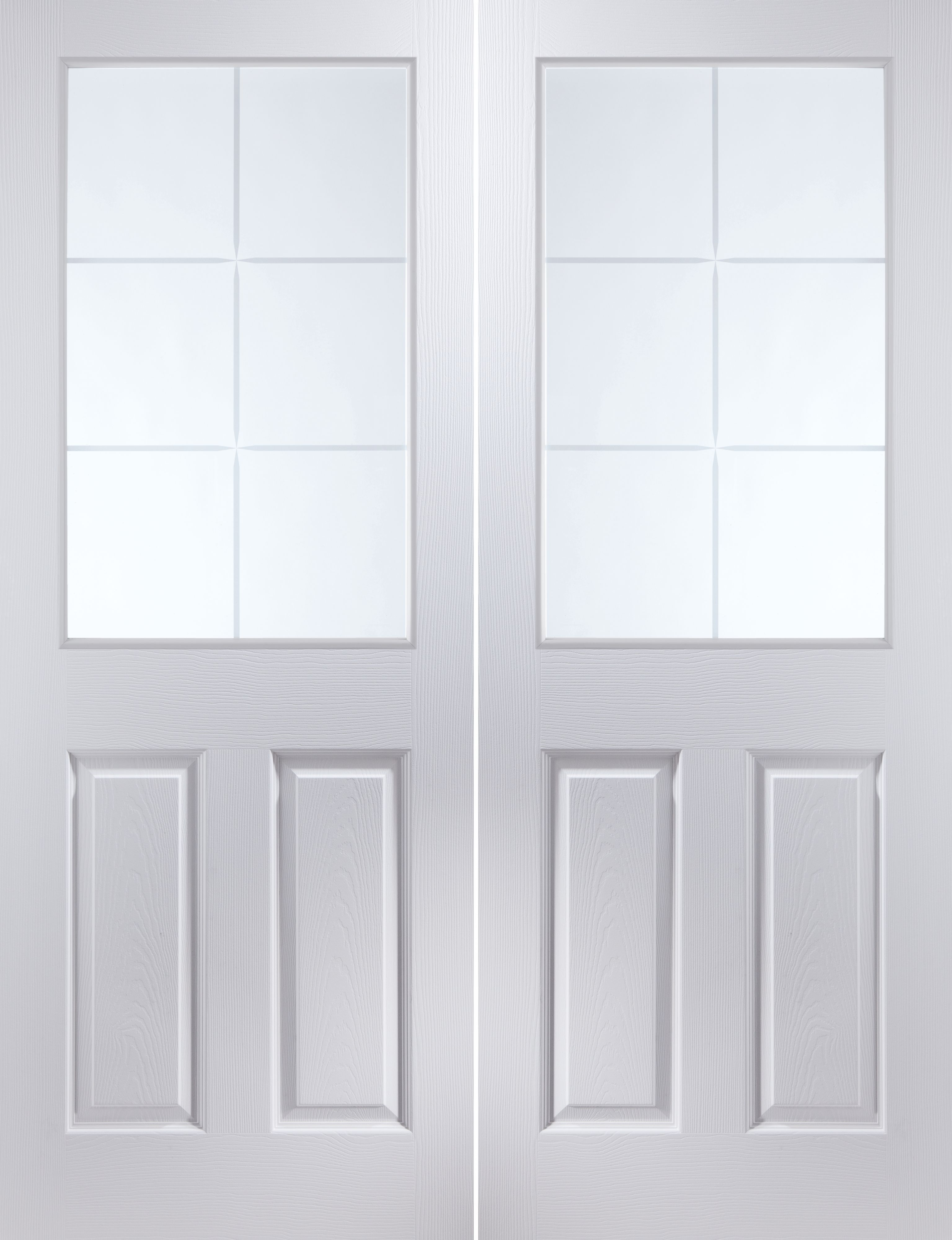 6 panel 6 lite pre painted white glazed internal french for Glazed french doors