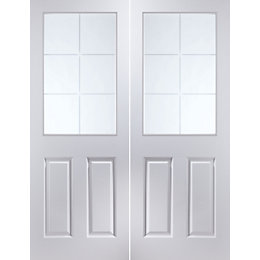 6 Panel 6 Lite Pre-Painted White Glazed Internal
