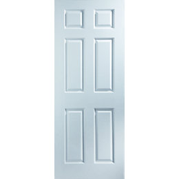 6 Panel White Woodgrain Unglazed Door Kit, (H)2040mm