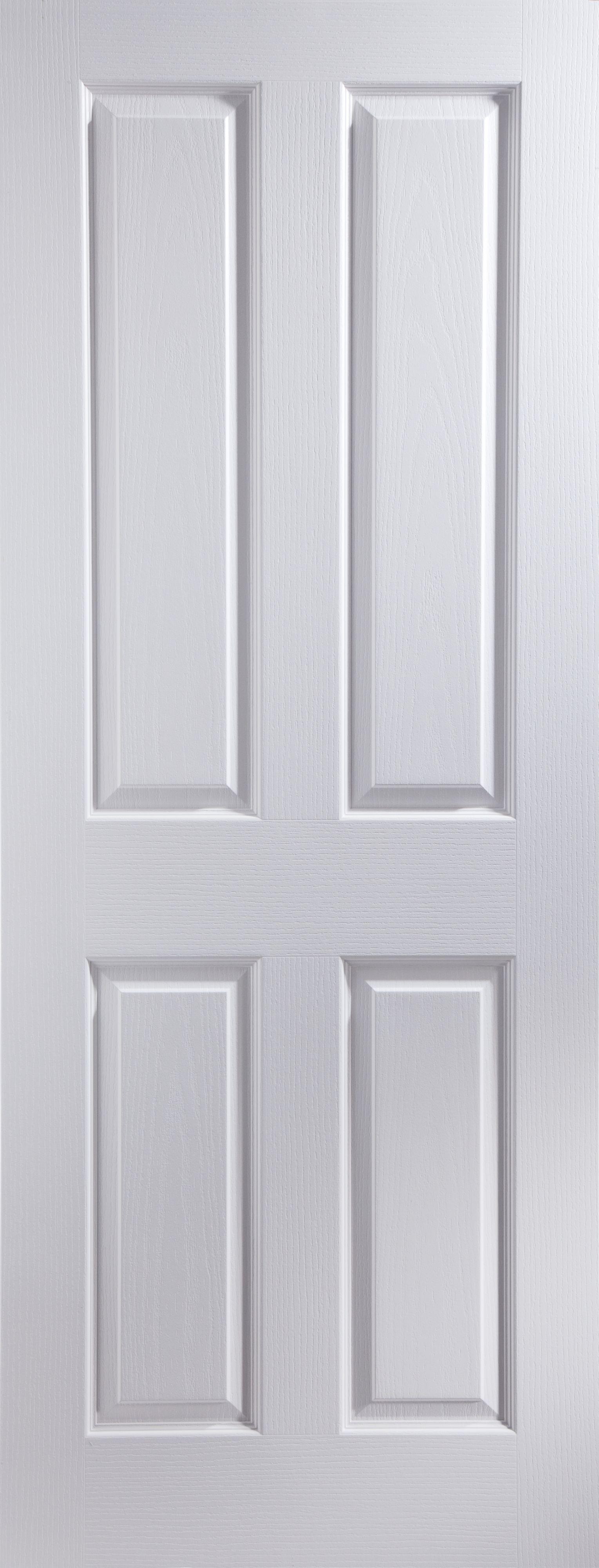 4 Panel White Woodgrain Unglazed Door Kit, (h)2040mm (w)826mm