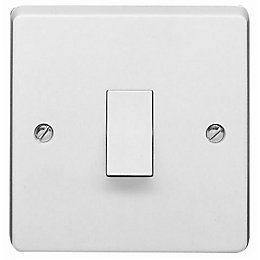 Crabtree 10A Single White Gloss Intermediate Switch