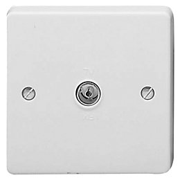 Crabtree Raised Screwed Screwed White Plastic Single Coaxial