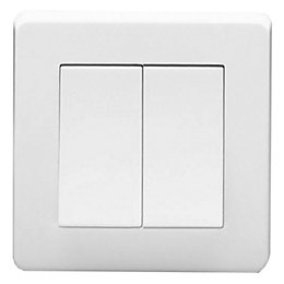 Crabtree 10A 2-Way Double White Light Switch