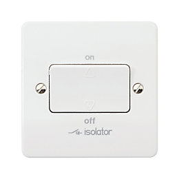 MK 6A Single White Gloss Fan Isolator Switch