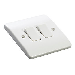 MK 10A 2-Way Double White Double Light Switch