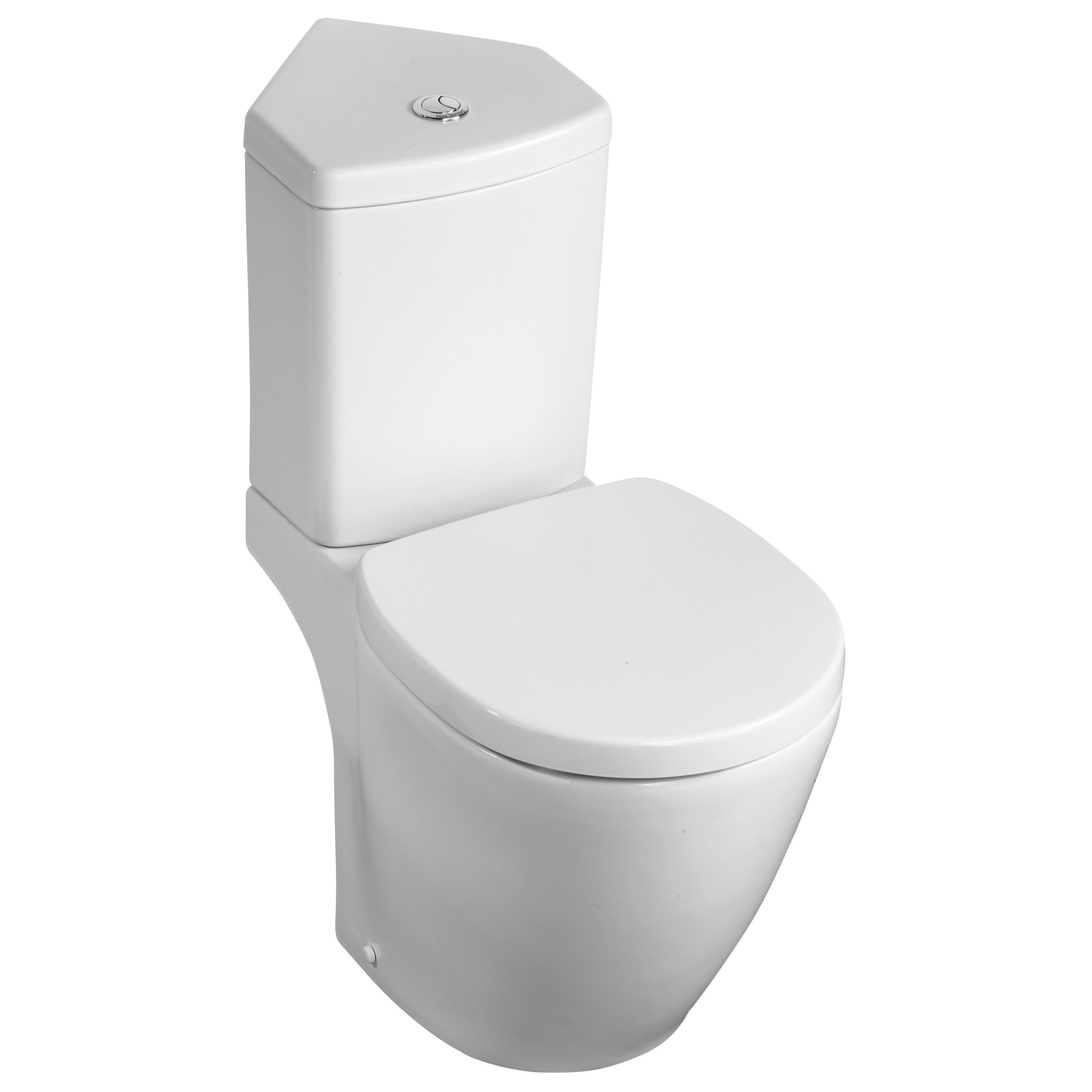 Corner Toilet : ... Compact Contemporary Close-Coupled Corner Toilet with Soft Close Seat