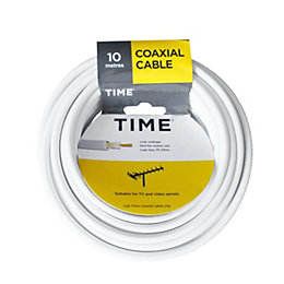 Time Coaxial Cable White 10m