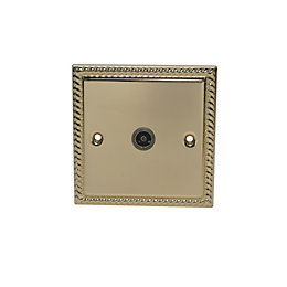 Volex Raised Georgian Brass Effect Co-Axial Socket