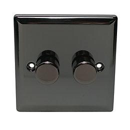 Volex 2-Way Double Black Dimmer Switch