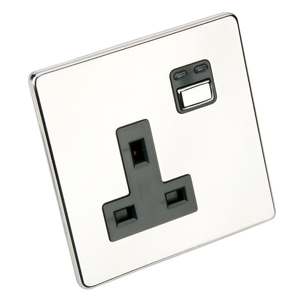 Siemens 13a Chrome Effect Switched Remote Control Socket
