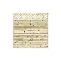 Ledbury Continental Lattice Top Fence Panel (W)1.8m (H)1.8m,