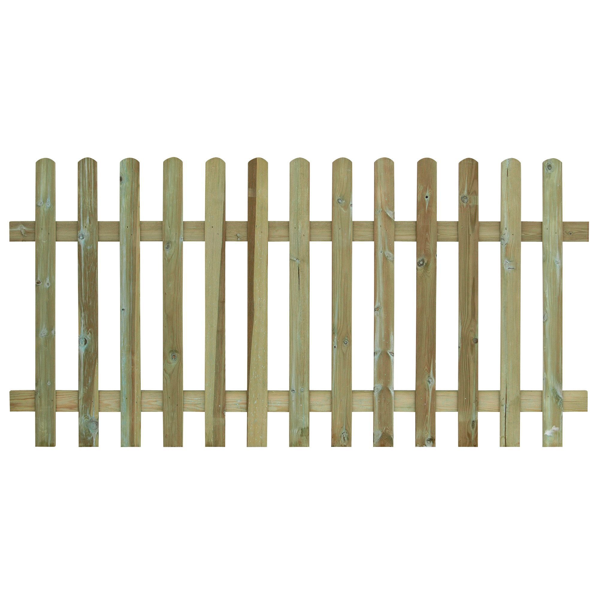 Grange Round Top Vertical Slat Fence Panel (w)1.8 M (h)0.9m, Pack Of 3