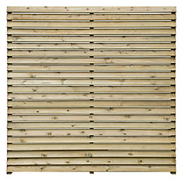 Louvre Slatted Fence Panel (W)1.8m (H)1.8m, Pack of