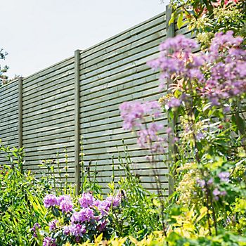 Contemporary Slatted Fence Panel 1.8 x 1.8m in garden
