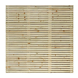 Contemporary Slatted Fence Panel (W)1.79m (H)1.793m, Pack of