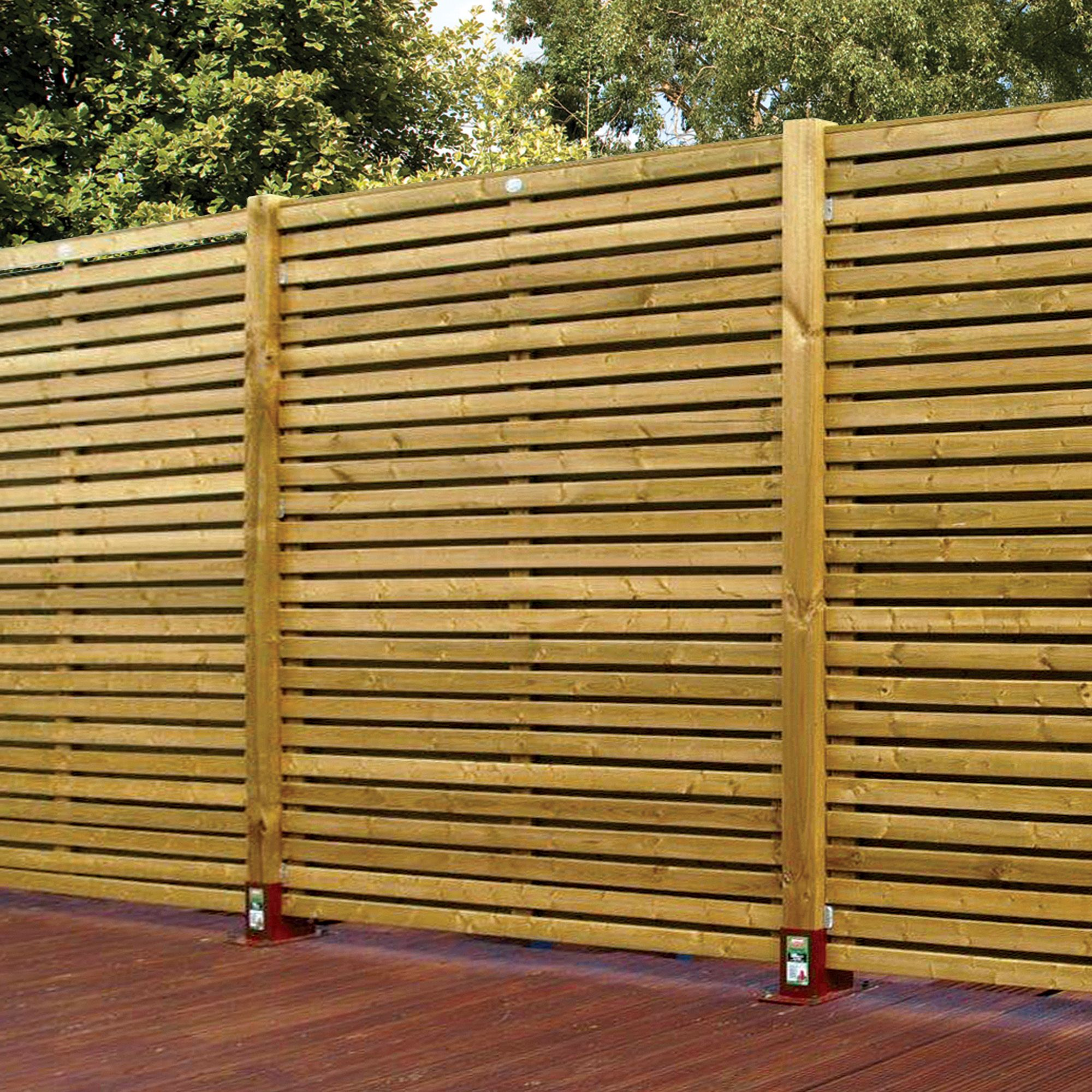 contemporary slatted fence panel w h pack. Black Bedroom Furniture Sets. Home Design Ideas