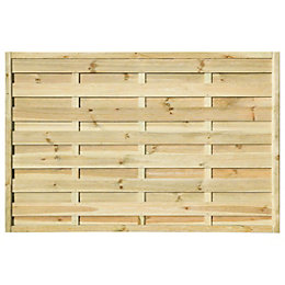 Woodbury Slatted Fence Panel (W)1.8m (H)1.2m, Pack of