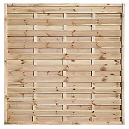Woodbury Slatted Fence Panel (W)1.8m (H)1.8m, Pack of