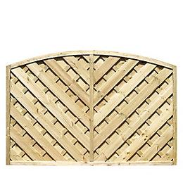 St Lunair Arched Fence Panel (W)1.8m (H)1.2m, Pack