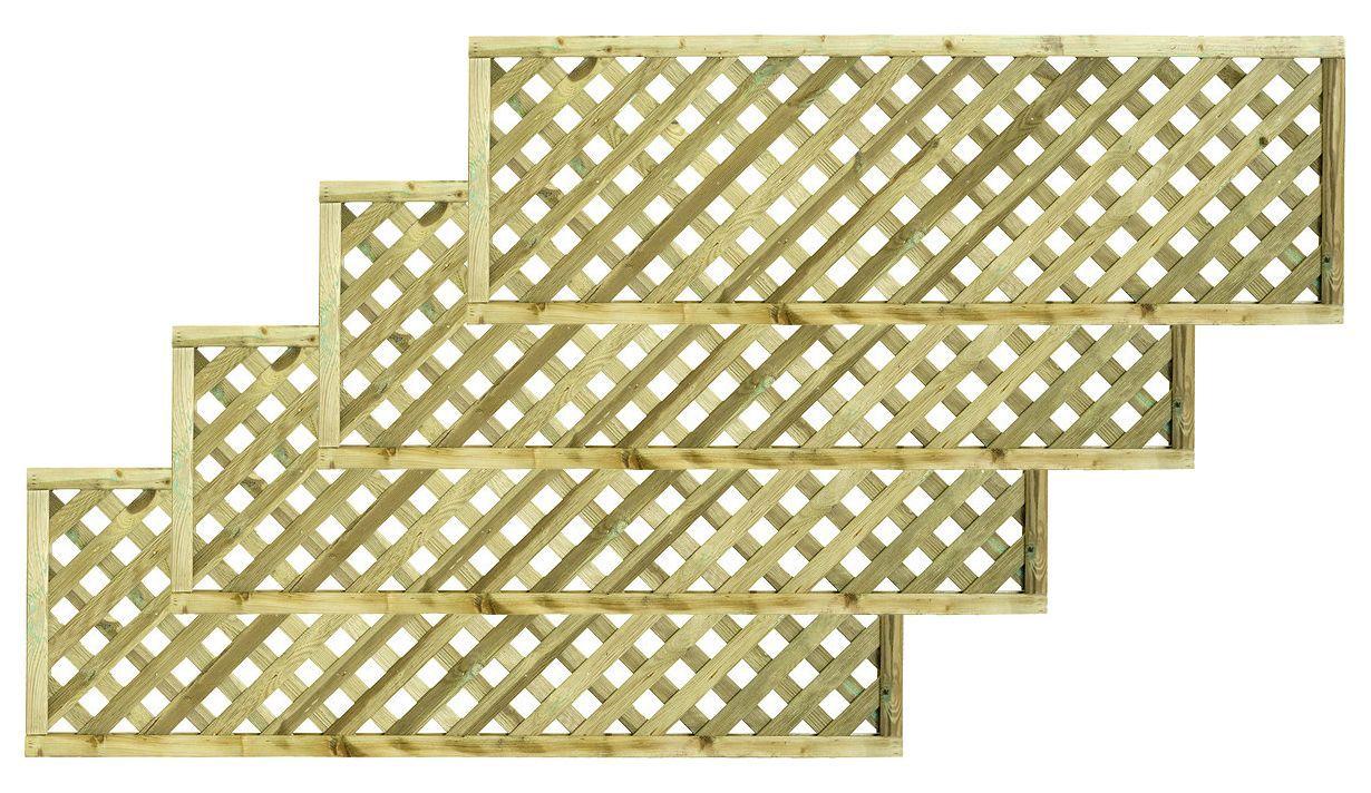 Woodbury Timber Square Trellis Panel (h)1.8m(w)0.6 M, Pack Of 4