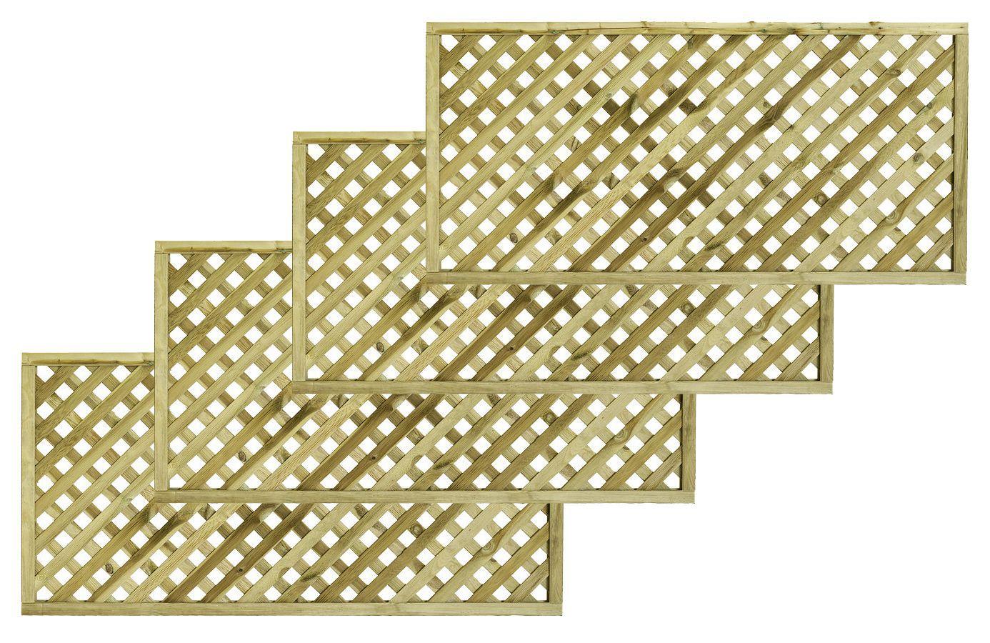 Woodbury Timber Square Trellis Panel (h)1.8m(w)0.9 M, Pack Of 4
