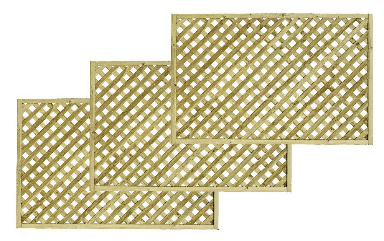 Woodbury Timber Square Trellis Panel (h)1.8m(w)1.2 M, Pack Of 3