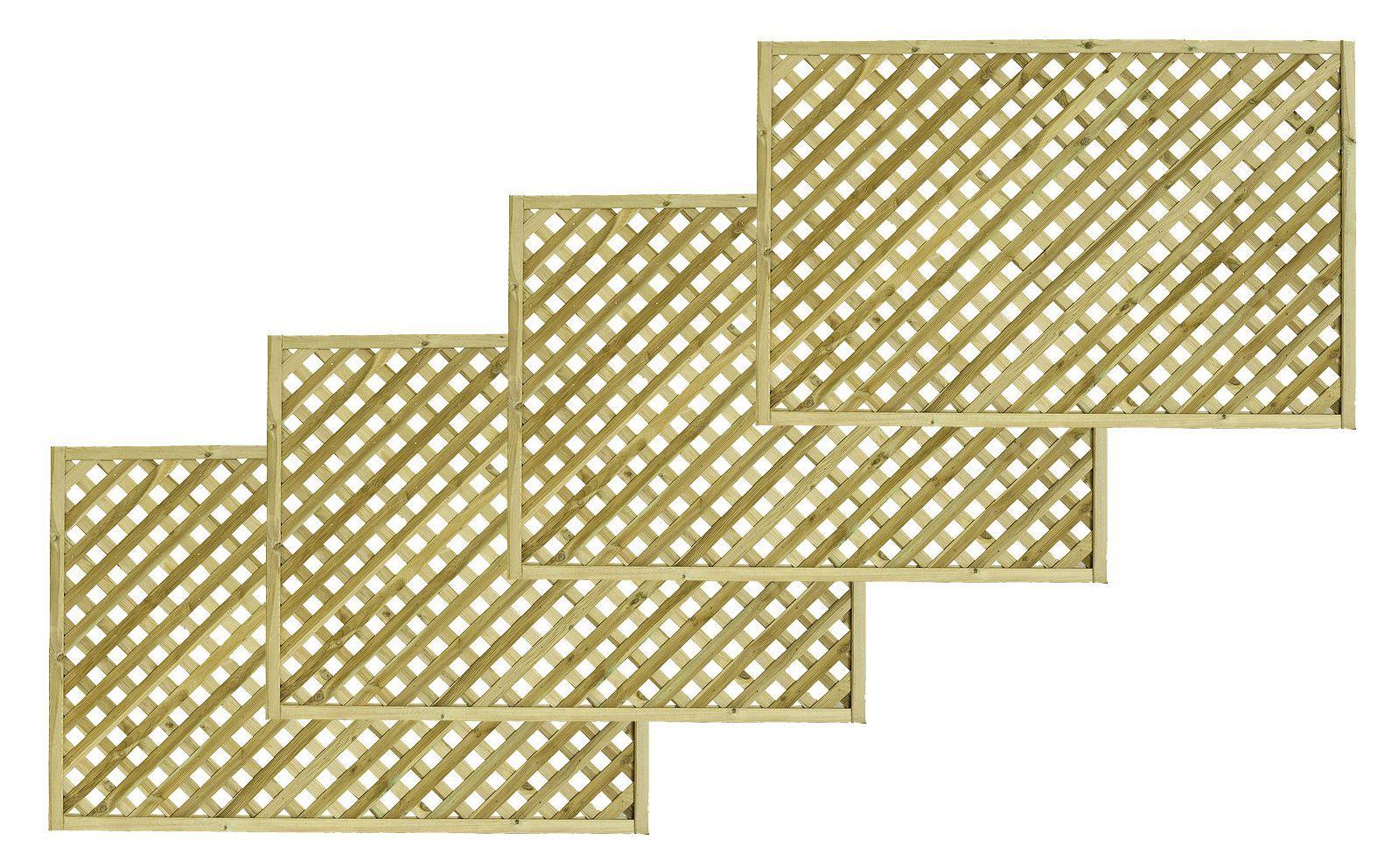 Woodbury Timber Square Trellis Panel (h)1.8m(w)1.2 M, Pack Of 4