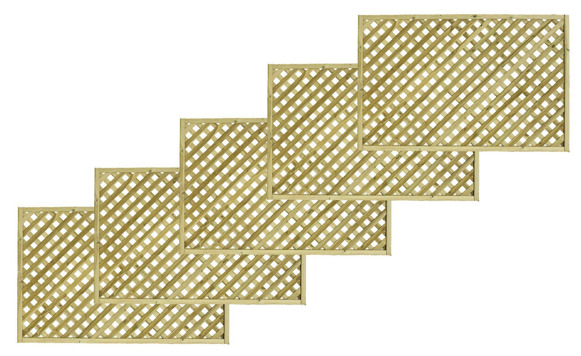 Woodbury Timber Square Trellis Panel (h)1.8m(w)1.2 M, Pack Of 5