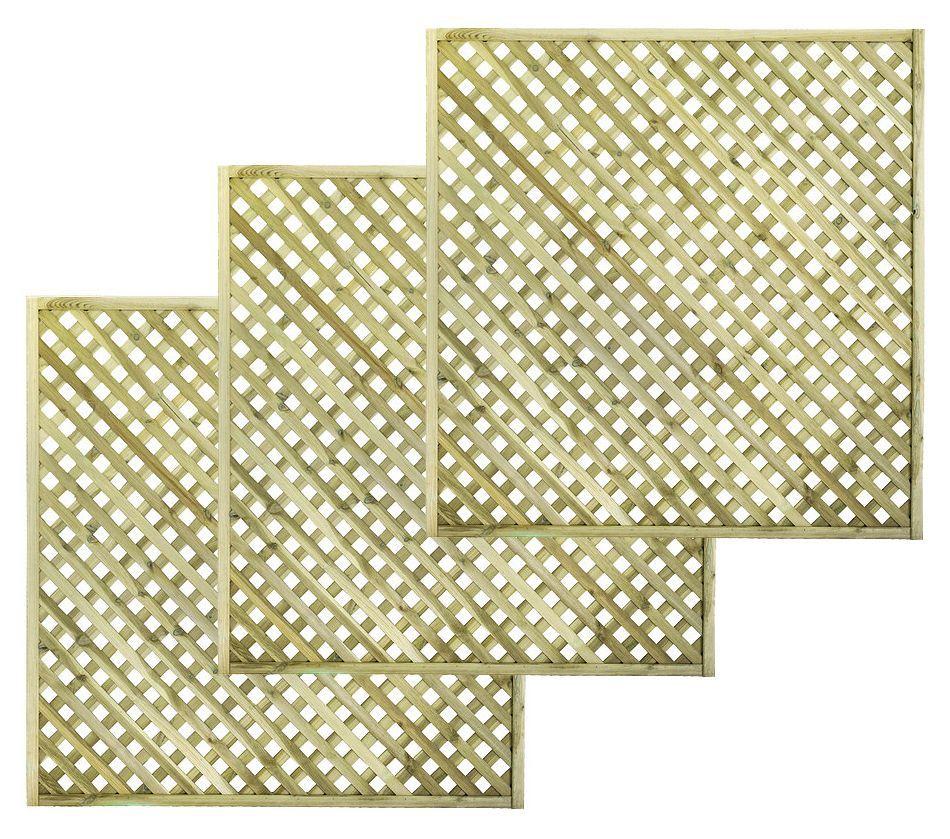 Woodbury Timber Square Trellis Panel (h)1.8m(w)1.8 M, Pack Of 3