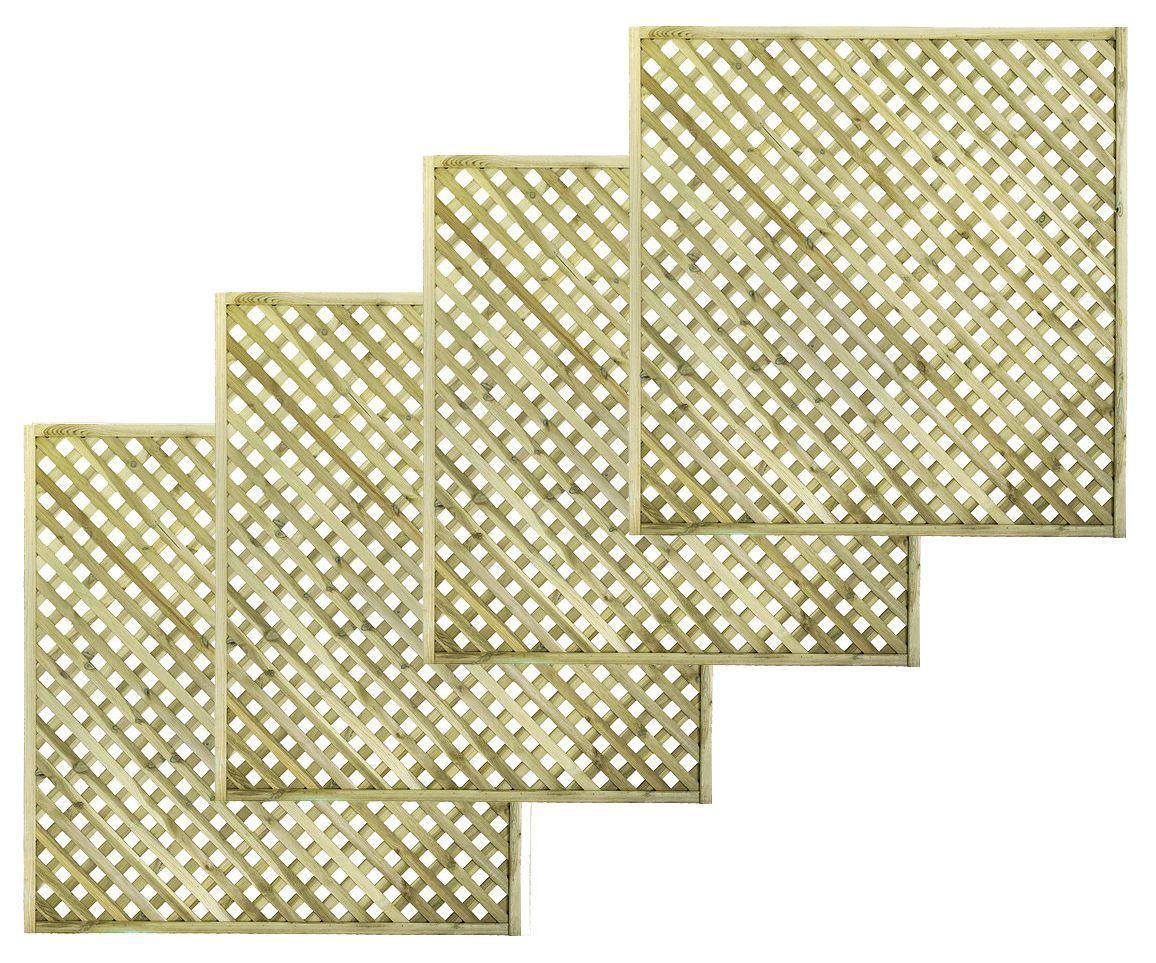 Woodbury Timber Square Trellis Panel (h)1.8m(w)1.8 M, Pack Of 4