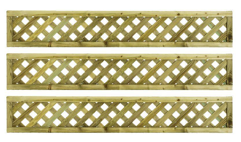 Woodbury Timber Square Trellis Panel (h)1.8m(w)0.3 M, Pack Of 3