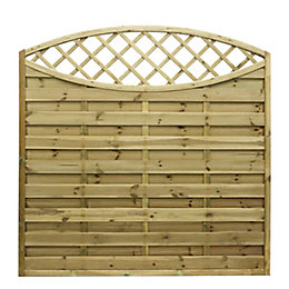 Elite Lattice Top Planed Horizontal Slats Fence Panel