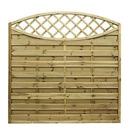 Grange Elite Lattice Top Planed Horizontal Slats Fence