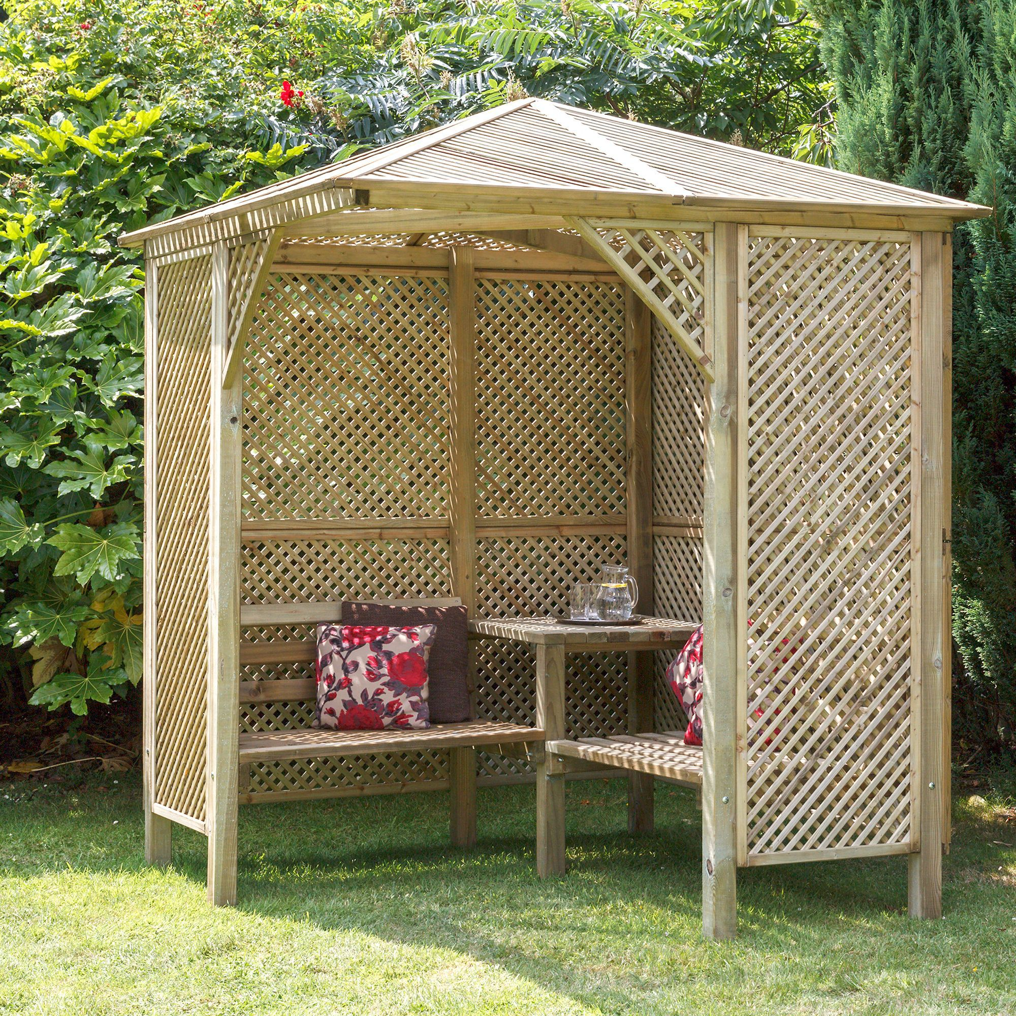 Image gallery wooden arbour for Wooden garden arbour designs