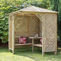Valencia Wooden Corner Lattice Arbour