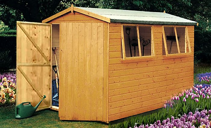 """10X8 Atlas Apex Shiplap Wooden Shed"""