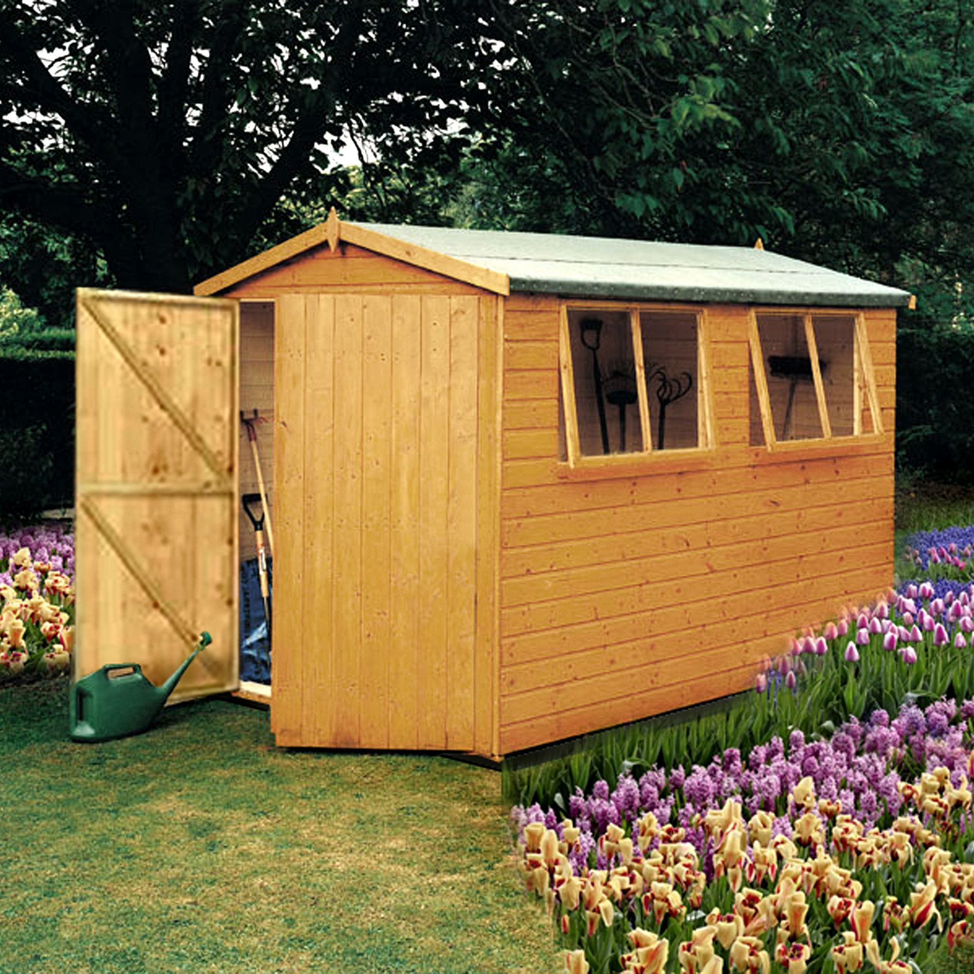 10x10 Atlas Apex Shiplap Wooden Shed With Assembly Service