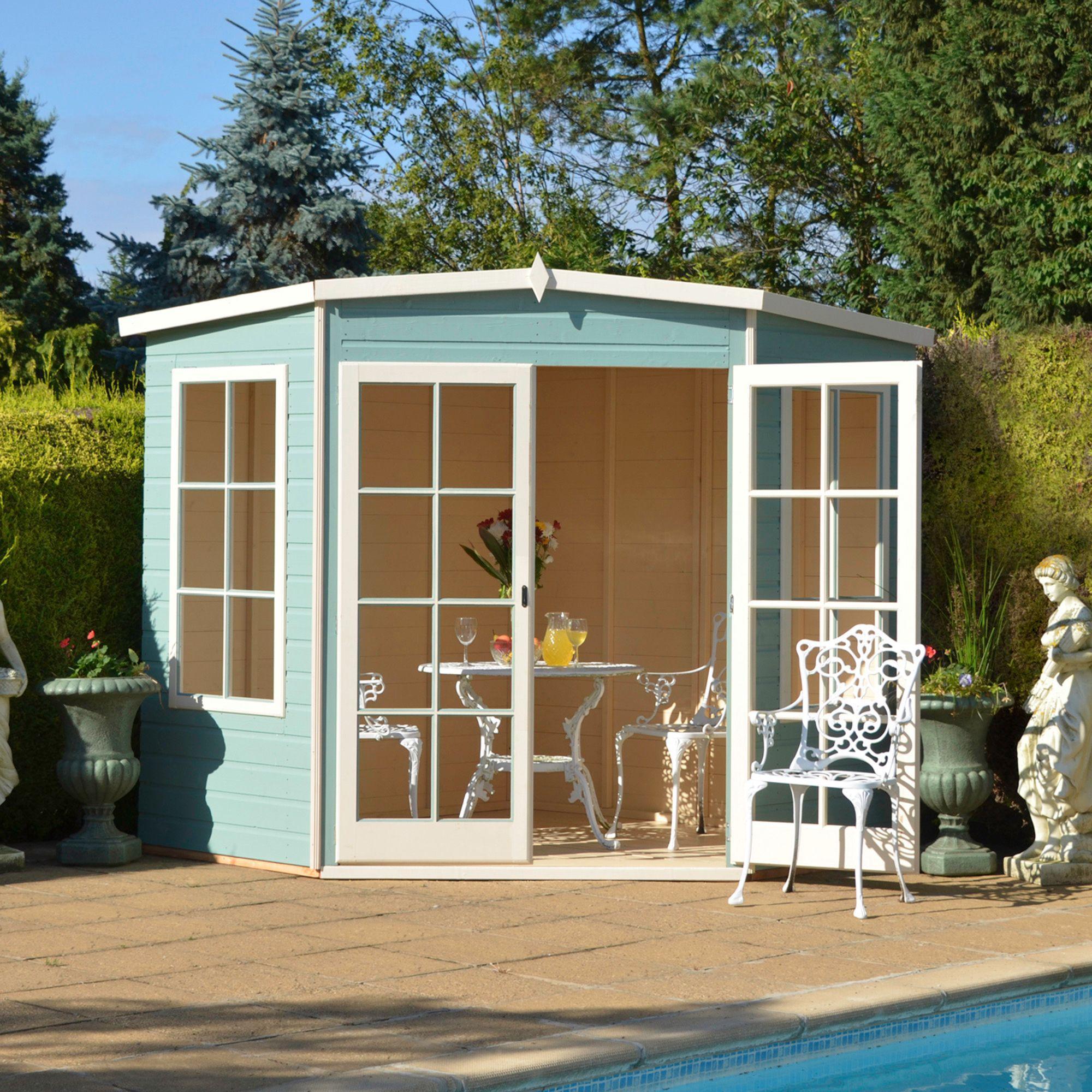 8x8 hampton shiplap timber summerhouse with toughened glass departments diy at bq corner garden sheds - Corner Garden Sheds 8x8