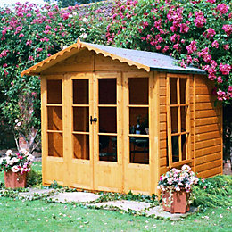 7X7 Kensington Shiplap Timber Summerhouse with Toughened Glass