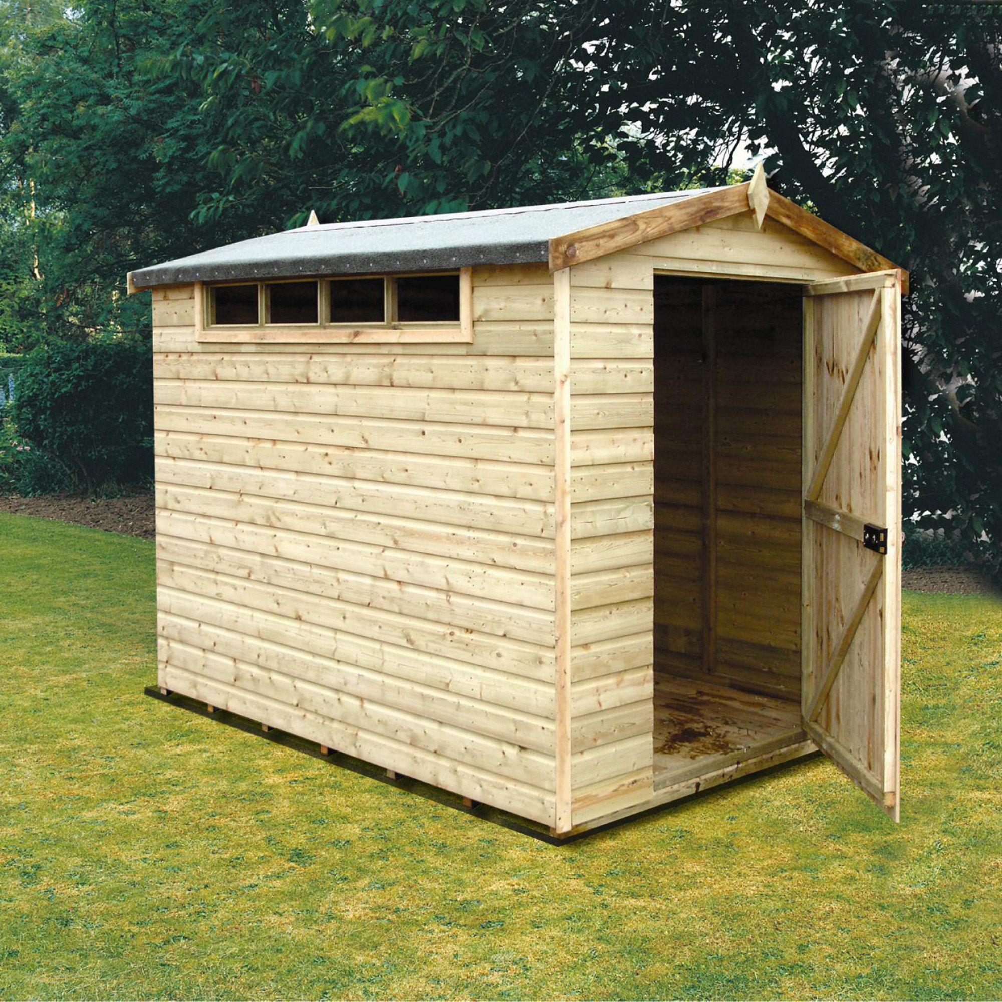 10x8 Security Cabin Apex Shiplap Wooden Shed With Assembly