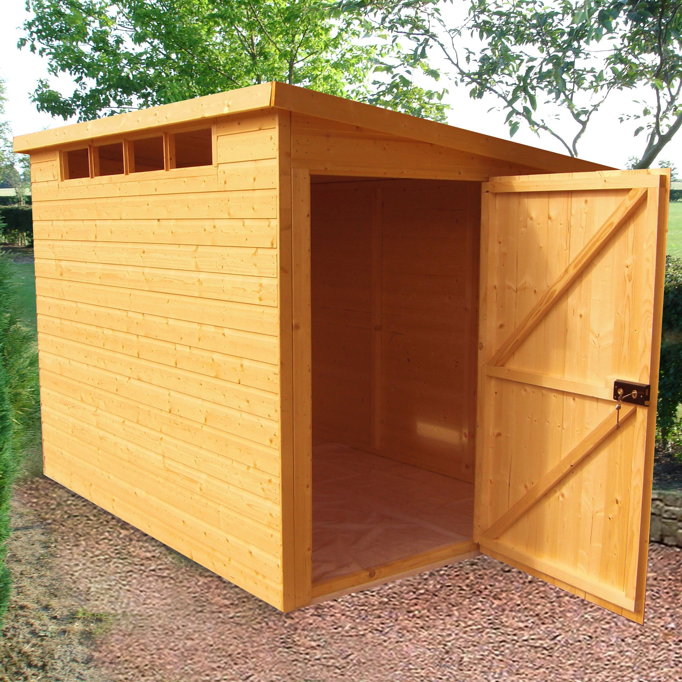 10x8 Security Cabin Pent Shiplap Wooden Shed With Assembly