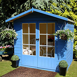 7X5 Lumley Shiplap Timber Summerhouse Base Included