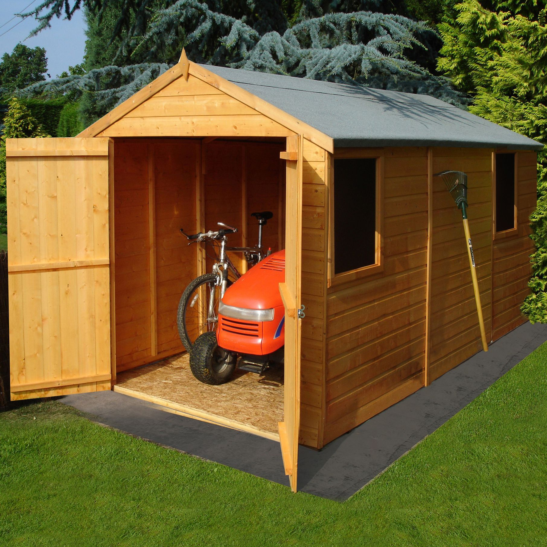 8x6 Warwick Apex Shiplap Wooden Shed With Assembly Service Base Included