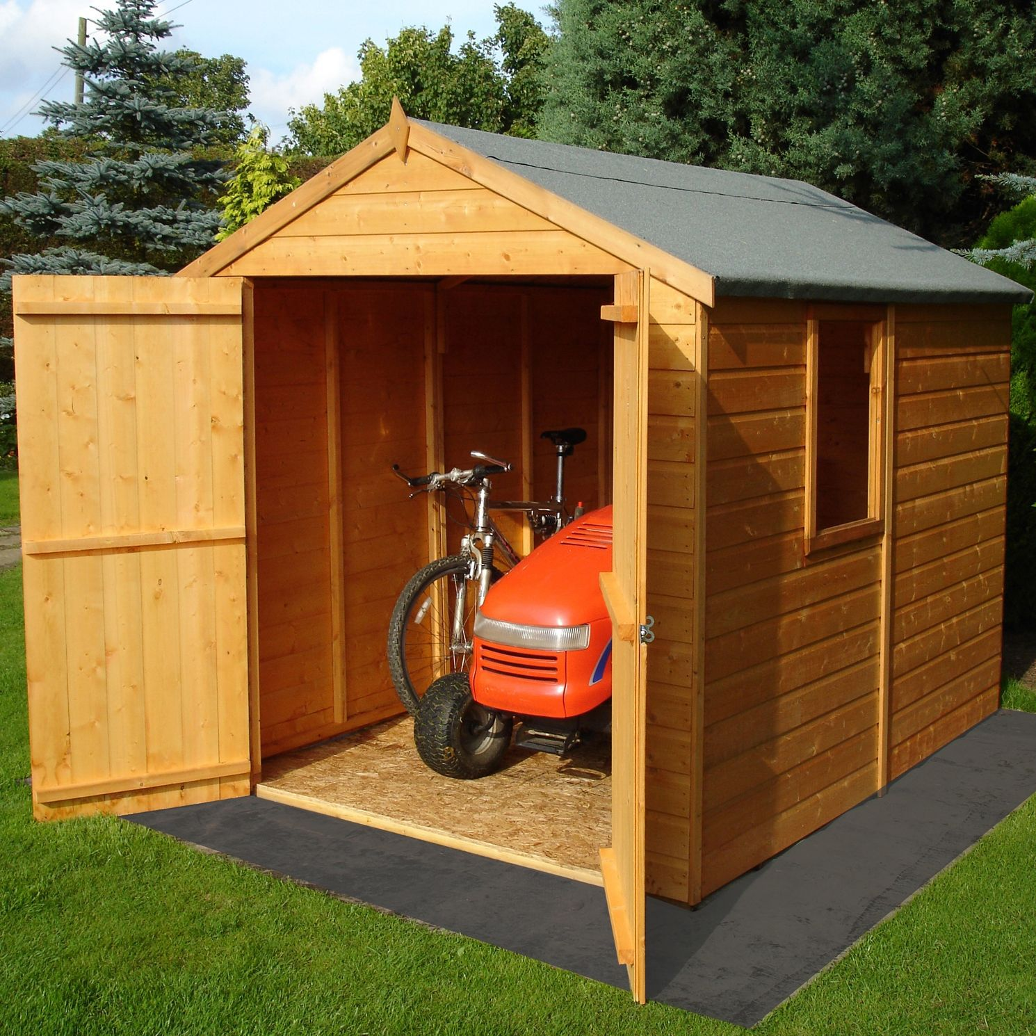 8x6 Warwick Apex Shiplap Wooden Shed Base Included