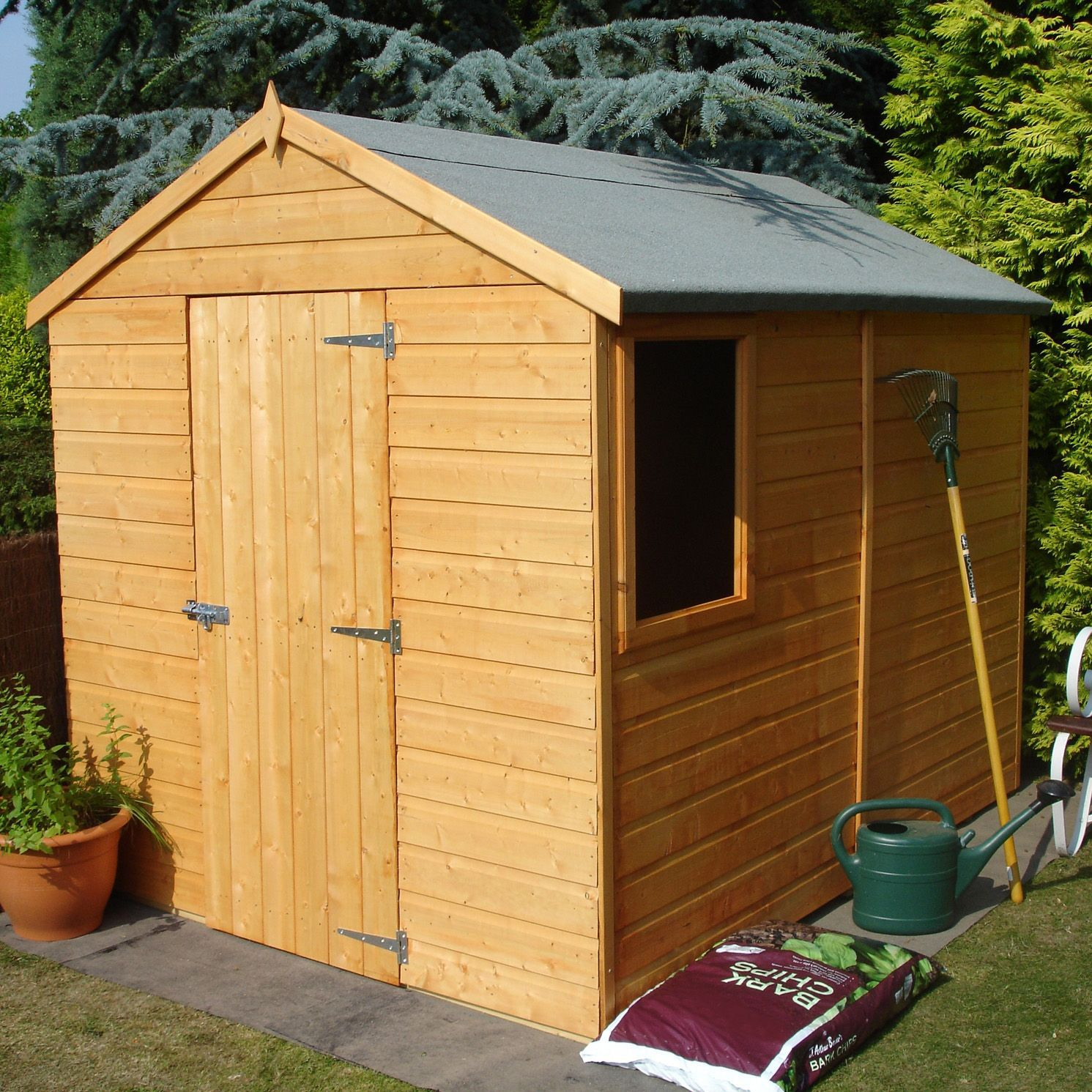 8x6 Durham Apex Shiplap Wooden Shed Base Included