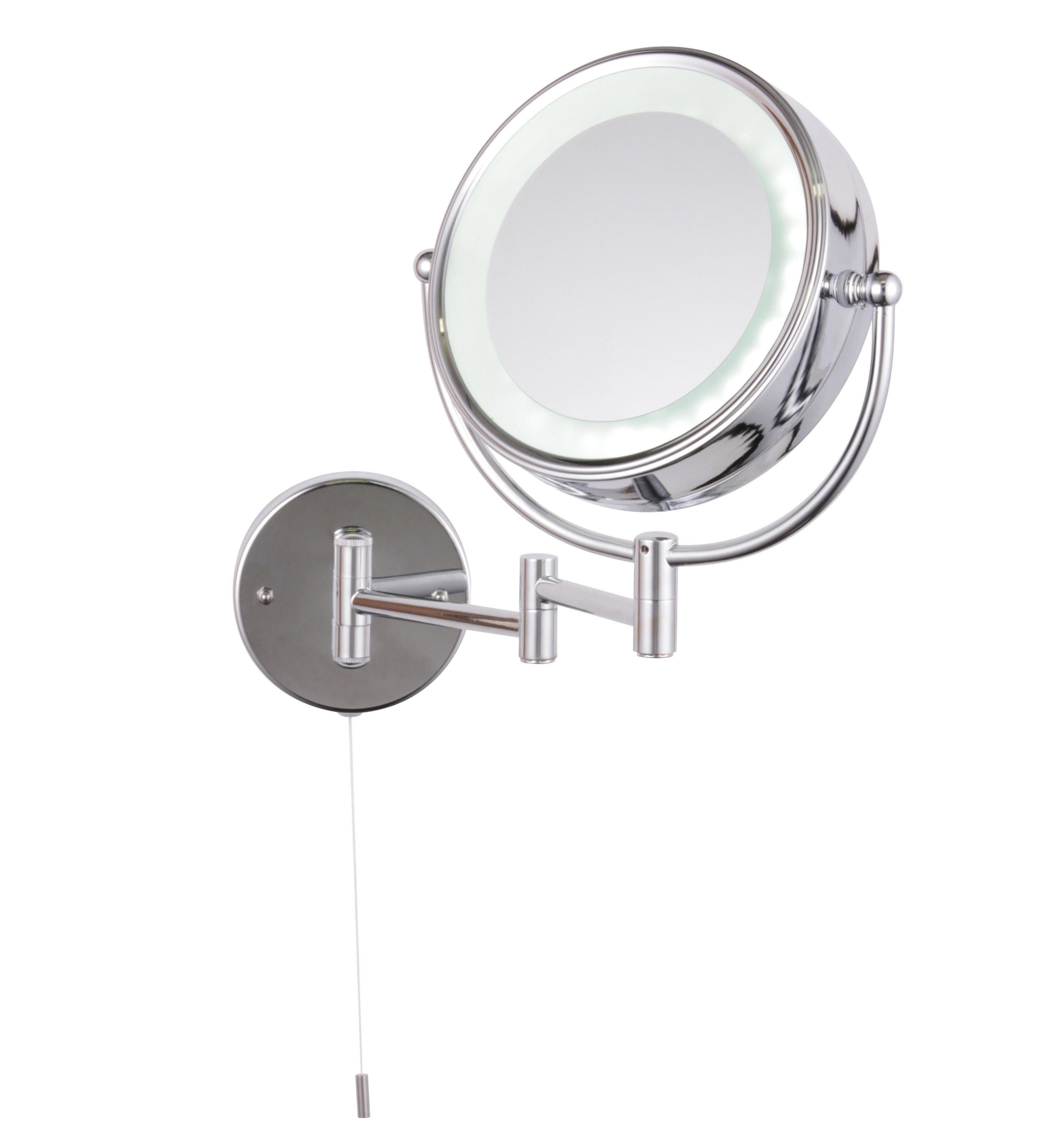 Bathroom gt decorative bathroom wall mirrors gt bathroom wall mirrors - Jenolan Illuminated Bathroom Circular Extendable Mirror W 190mm
