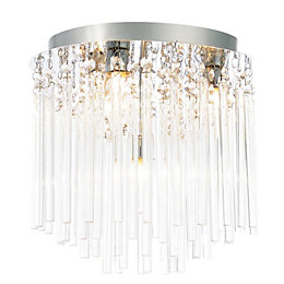 Tooma Clear Chrome Effect 4 Lamp Bathroom Ceiling